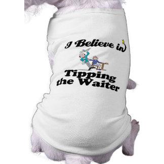 i believe in tipping the waiter sleeveless dog shirt