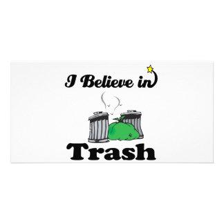 i believe in trash photo greeting card