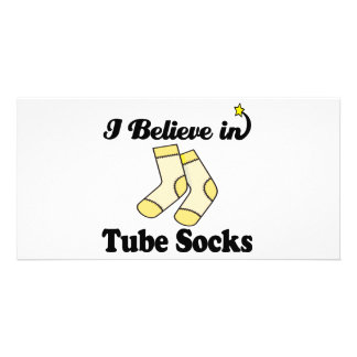 i believe in tube socks personalized photo card
