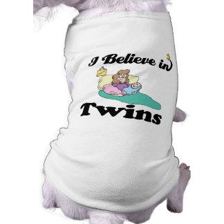 i believe in twins sleeveless dog shirt