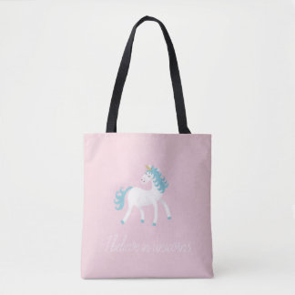 I believe in unicorns design tote bag