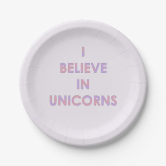 I Believe In Unicorns Pink and Purple Cotton Candy Paper Plate