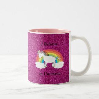 I believe in unicorns pink glitter Two-Tone coffee mug