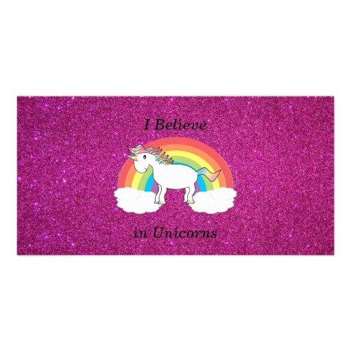 I believe in unicorns pink glitter photo cards