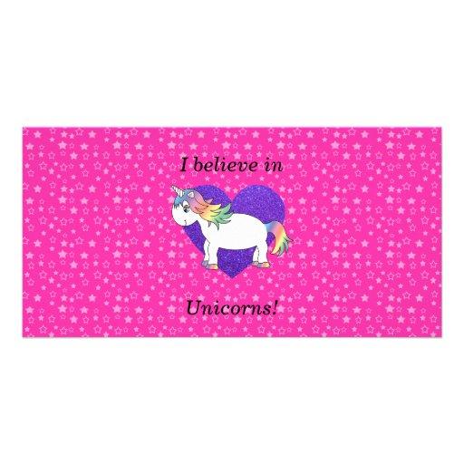 I believe in unicorns pink stars photo card