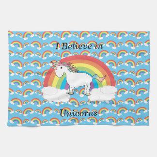 I believe in unicorns tea towel