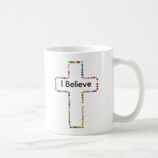 I Believe Inspirational Mug with Heart Cross