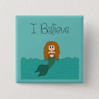 I Believe - Mermaid - change colour 15 Cm Square Badge
