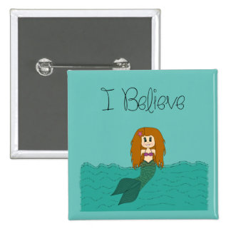 I Believe - Mermaid - change colour 15 Cm Square Badge