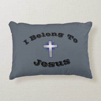 I Belong To Jesus Pillow w/Blue Flared Cross