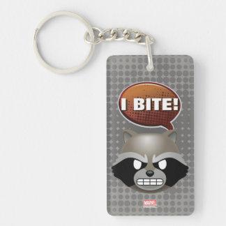 """""""I Bite"""" Rocket Emoji Double-Sided Rectangular Acrylic Key Ring"""