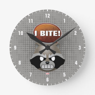 """I Bite"" Rocket Emoji Round Clock"
