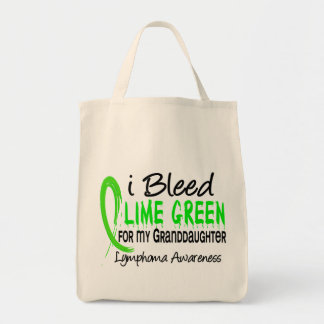 I Bleed Lime Green For My Granddaughter Lymphoma Canvas Bags