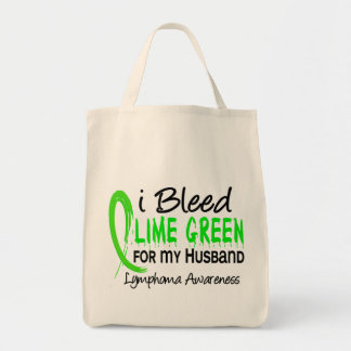 I Bleed Lime Green For My Husband Lymphoma Canvas Bags