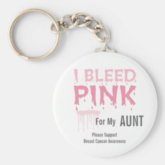 I bleed Pink For My Aunt Breast Cancer Awareness Basic Round Button Key Ring
