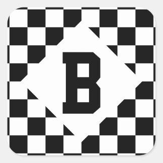I Bleed Racing Check Black White Checkered Custom Square Sticker
