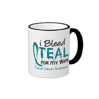 I Bleed Teal For My Wife Ovarian Cancer Ringer Mug