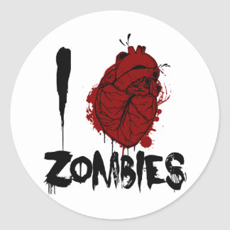 i bloody heart zombies classic round sticker