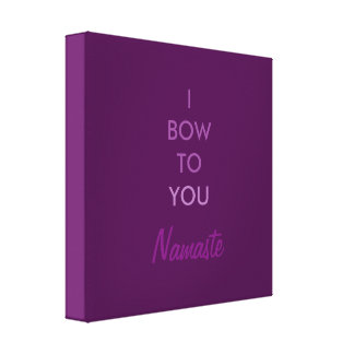 I bow to you, Namaste, Purple Inspirational Canvas Print