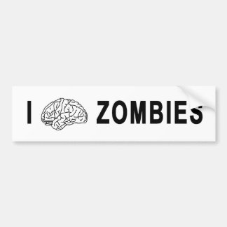 I [BRAIN] ZOMBIES BUMPER STICKER