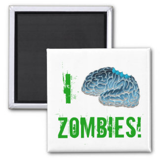 I Brain Zombies! Square Magnet