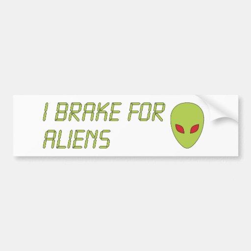 I Brake For Aliens Bumper Sticker