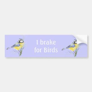 I Brake for Birds, Watercolor Common Bird Bumper Sticker