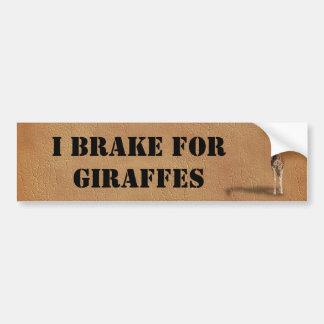 I BRAKE FOR GIRAFFES BUMPER STICKER