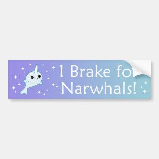 I Brake for Narwhals Bumper Sticker