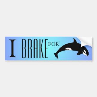 I Brake for Orca Killer Whale Silhouette Blue Bumper Sticker