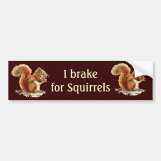 I Brake for Squirrels, Watercolor Animals Bumper Sticker