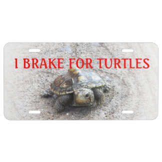 I Brake for Turtles car tag with red print License Plate