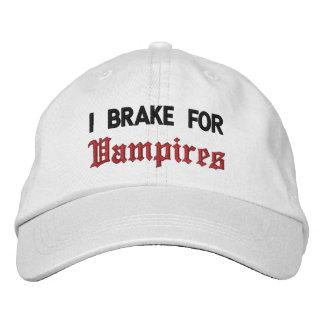 I Brake For Vampires Embroidered Hats