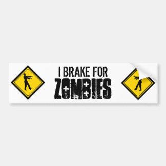 I Brake for Zombies Car Bumper Sticker