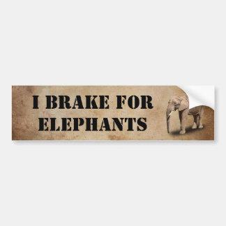 I BREAK FOR ELEPHANTS BUMPER STICKER