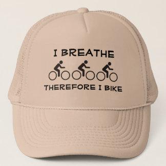 I breathe, therefore I bike Trucker Hat