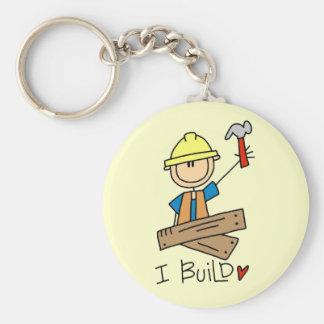 I Build Stick Figure Carpenter Tshirts Basic Round Button Key Ring