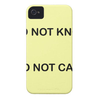 I C NOT KNOW. I C NOT CARE. iPhone 4 COVER