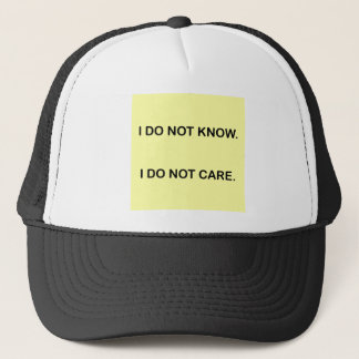 I C NOT KNOW. I C NOT CARE. TRUCKER HAT
