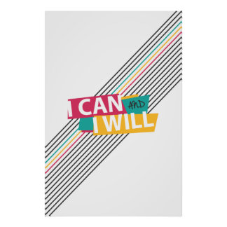 """I CAN AND I WILL"" Eighties Typography Poster"