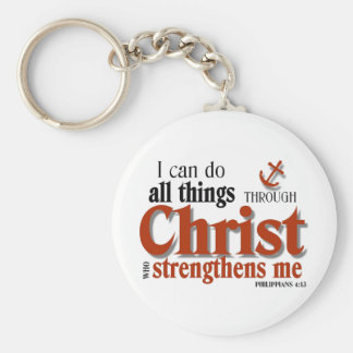 I Can Do All Things Through Christ Basic Round Button Key Ring