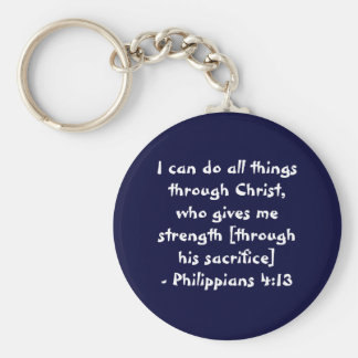 I can do all things through Christ,who gives me... Basic Round Button Key Ring