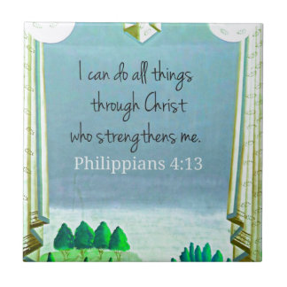 I can do all things through Christ who strengthens Small Square Tile