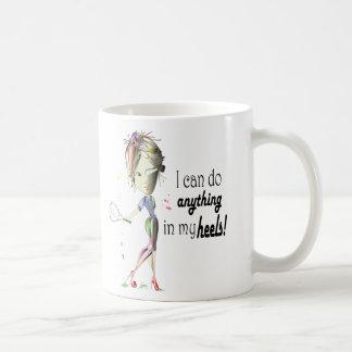 I can do anything in my heels! digital art basic white mug