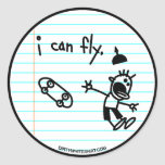 I can fly. round stickers
