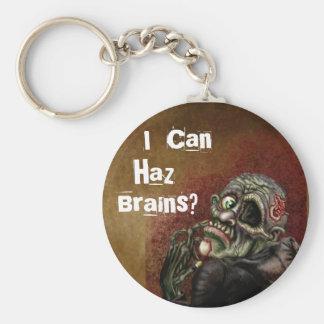 I can haz brains? basic round button key ring