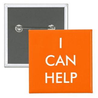 I Can Help  Volunteer Button Charity Events Orange