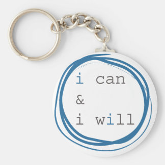 I can & I will Basic Round Button Key Ring