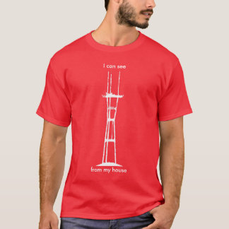 I can see Sutro from my house, all-white on red T-Shirt