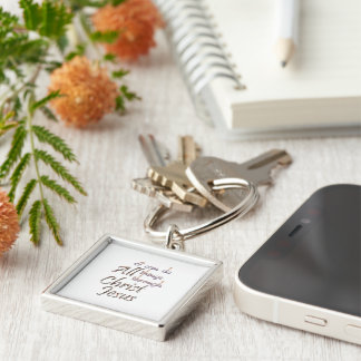 I Can Silver-Colored Square Key Ring